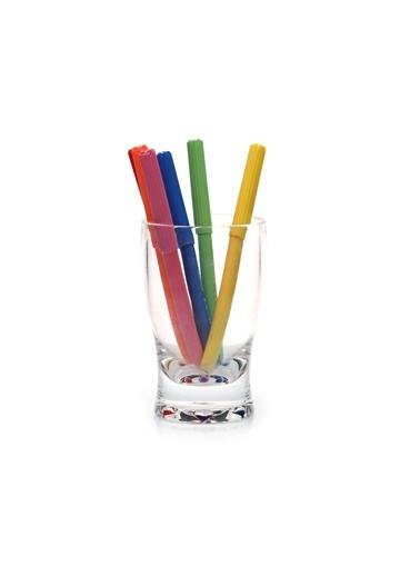 Bosphorus 6 X 6 X 11 Cm N Kısmı Benekli Cam Görünüm Şeffaf Yuvarlak Kalemlik Renkli